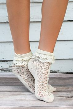 Cannot get much more adorable than this! | Ivory Ruffle Lace Anklet Socks | { bootcuffsocks.com }