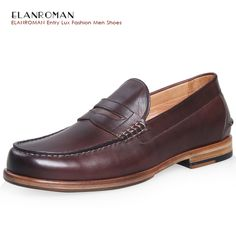 188.00$  Watch now - http://aliivu.shopchina.info/go.php?t=32690710878 - ELANROMAN Brand men penny loafers Genuine Leather driving shoes mens casual loafers leather business flat men loafers  #SHOPPING