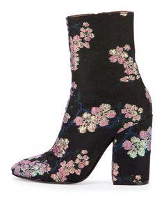 Dries van Noten  Floral Ankle Bootie, Black/Pink Jaquard - Bergdorf Goodman  $750.00