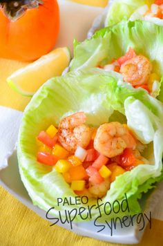 Shrimp lettuce wraps with persimmon salsa from Paleo Superfood Synergy! #superfoodsynergy #paleo #gluten free