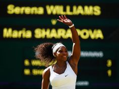 Wimbledon 2015: Serena Williams celebrates her straight sets victory over Maria Sharapova in the semifinals.
