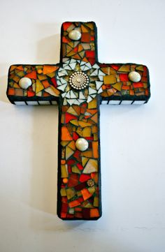 Stained Glass Mosaic Cross, Wall Hanging, Orange and Amber Stained Glass - 9 Inches