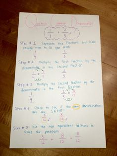 Quickest Common Denominator Anchor Chart Add And Subtract Fractions, Adding And Subtracting, Math Vocabulary, Maths, Least Common Denominator, Multiplying Fractions, Math Practices, 4th Grade Math, Study Notes