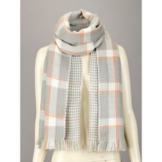 Reversible Check Scarf ($20) ❤ liked on Polyvore featuring accessories, scarves, plaid shawl, reversible scarves, tartan plaid shawl, patterned scarves and plaid wraps shawls