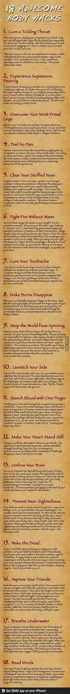 "Number 15 is a lifesaver!! As for #4, I'm pretty sure that's a terrible idea. ""18 Awesome Body Hacks 