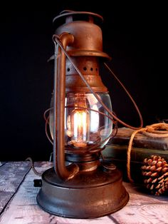 Table Lamp Lighting Upcycled Vintage Lantern by BenclifDesigns