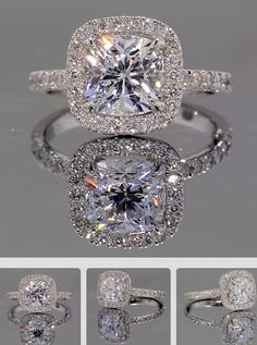 Park Avenue Halo Engagement Ring: The Park Ave is a stunning halo set with approximately 1/3ct of natural diamonds and a 7mm Asha cushion center stone held with single claw prongs. A matching wedding band can be created for this style. Pricing shown includes the 7mm Asha cushion. Please contact us for variations, other center stone choices, or finger sizes above size 7.5.