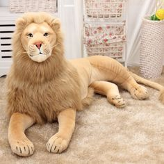 Big Discount Giant Large Plush Lion Toy Simulation Animals Stuffed Realistic Cartoon Toys Doll For Children Soft Dolls Animal Pillow Peluche Lion, Giant Stuffed Animals, Stuffed Toys, Lion Toys, Pikachu, Animal Categories, Fabric Toys, Large Pillows, Pillows