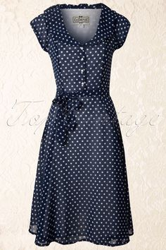 Collectif Clothing - 50s Violet Polka Dot Dress in Blue #topvintage