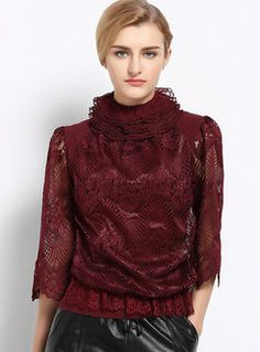 High Collar Lace Voile Patchwork Causal T-Shirt