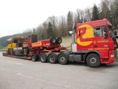 Schwertransport eines Gleiskraftwagen von Deutschland nach Rumänien mit 4achs Zugmaschine + 1achs Dolly und 4achs Tiefbett inkl. Begleitung für Schwertransport