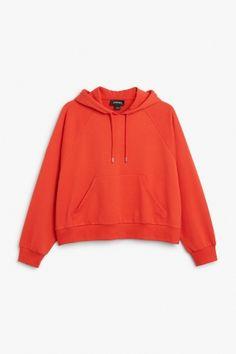 Monki Image 1 of Cropped hoodie  in Orange Reddish Dark