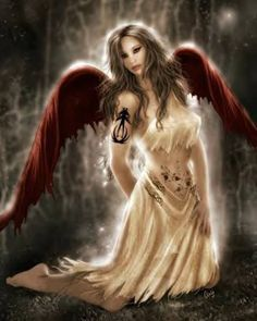 Red Angel Wings. Gothic, Fantasy Art