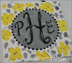 Hand Painted Monogram Or Name Canvas Custom by ladeedahart on Etsy