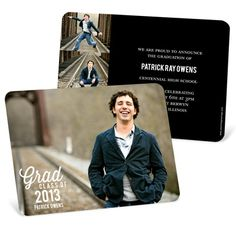 Graduation Announcements and Invitations -- Favorite Photo Horizontal. Simple enough to let your personality shine through, these graduation announcements and invitations feature one full horizontal photo on the front, and three smaller photos on the back. The rounded corners make it extra special!