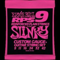 Ernie Ball – 2239 – RPS 9 Super Slinky. Corde plain RPS con rinforzo in bronzo. Avvolgitura in acciaio nichelato Scalatura .009-.011-.016-.024-.032-.042