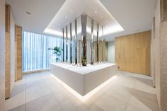 """Overall design of commercial complex """"NEWoMan"""" directly connected to JR Shinjuku station, including creation of design regulation for tenant part Commercial Toilet, Commercial Complex, Public Bathrooms, Dream Bathrooms, Bathroom Toilets, Washroom, Oasis, Toilette Design, Public Space Design"""