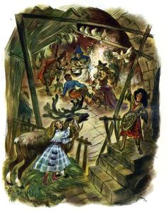 Szancer - Baśnie Andersena Snow Queen, Fantasy World, Book Illustration, Vintage Cards, Faeries, Illustrators, Fairy Tales, Deer, Witch