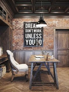 20 Interiors that Actually Inspire. http://Messagenote.com Earthy rustic home office design  incorporating lots of timber  exposed brick  industrial lighting and  paneling  love the addition of the cream upholstered seating  contrasts beautifully with the surrounds