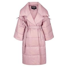 New Winter Jacket Pink slim waist large lapel long design women's down coat female
