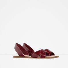 Image 2 of LEATHER STRAP SANDALS from Zara