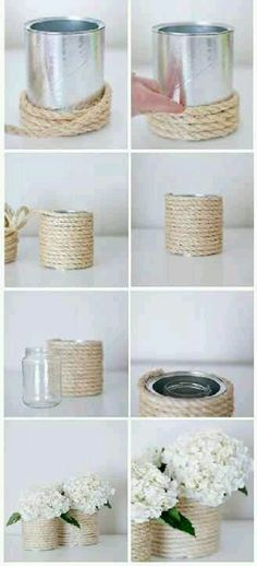 Can glue rope to old tin cans, oatmeal containers, etc to make a cute vase. (A friend made these for her bridal shower and they looked really cute!)