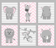 Zoo Nursery Decor, Baby Girl Nursery, Safari Nursery, Jungle Decor, Set of 6 Prints, Elephant Lion Giraffe Monkey Rhino Hippo, Grey and Pink by SweetPeaNurseryArt on Etsy