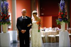 Ceremony in the Historic Landmark Building at PAFA - Pennsylvania Academy of the Fine Arts. Design by Beautiful Blooms.