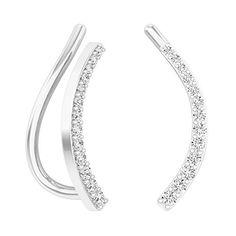 0.15 Carat (ctw) Sterling Silver Round Cut White Diamond Ladies Crawler Climber Earrings