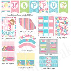 Custom Surf Girl Party Printable Kit by emmiecakes on Etsy, $21.00
