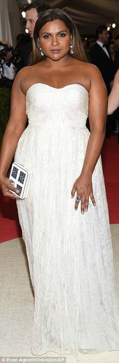 All white on the night: TV star Mindy Kaling positively glowed while Freida Pinto was styl...