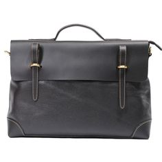 Handmade Genuine Leather Briefcase Laptop Messenger Bag in Classical Black
