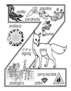 """""""Z"""" coloring page When teaching dictionary skills, students can make their own… Name Activities, Spanish Activities, Alphabet Activities, Bilingual Classroom, Spanish Classroom, Preschool Spanish, Teaching Spanish, Spanish Lesson Plans, Spanish Lessons"""