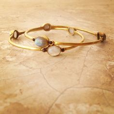 Labradorite and Garnet OR Moonstone and Garnet bangle, bracelet. Brass Bangle, Boho Bracelet, Tribal Jewellery, Tribal bangle.