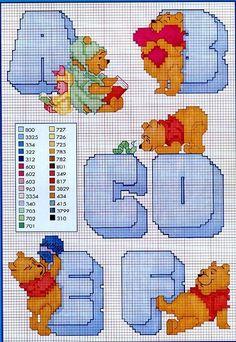 punto croce winnie the pooh Cross Stitch Alphabet Patterns, Cross Stitch Letters, Cross Stitch Designs, Stitch Patterns, Cross Stitching, Cross Stitch Embroidery, Chart Design, Pooh Bear, Plastic Canvas Patterns