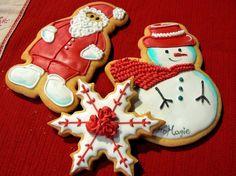 Santa Claus, snowman and snowflake.