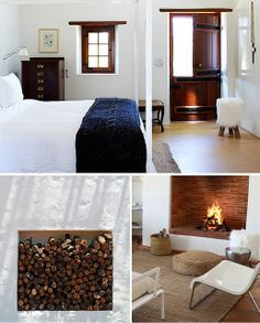 love the wood on the window and door - Babylonstoren in Cape Winelands, South Africa Living Room Interior, Living Room Bedroom, Home Bedroom, Bedrooms, Peaceful Bedroom, Dutch House, Cozy House, Cozy Cabin, Interior Design Inspiration
