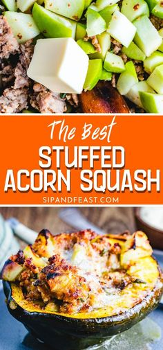Stuffed acorn squash make the perfect Thanksgiving holiday or fall appetizer. Tender acorn squash are loaded with a moist pecorino romano cheese, sage, apple and Italian sausage stuffing and baked to perfection for the ultimate fall recipe! Acorn Squash Baked, Sausage Stuffed Acorn Squash, Vegan Acorn Squash Recipes, Stuffed Squash Recipes, Baked Squash Recipes, Thanksgiving Holiday, Thanksgiving Recipes, Fall Recipes, Fall Appetizers