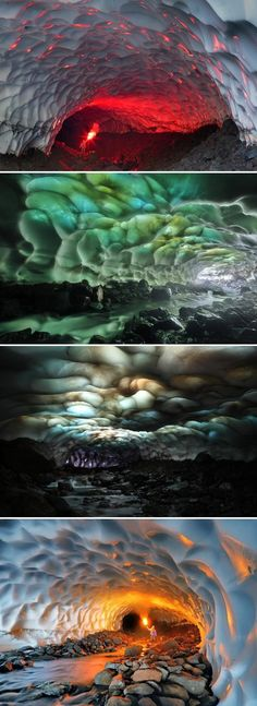 Snow caves in Kamchatka, far east Russia