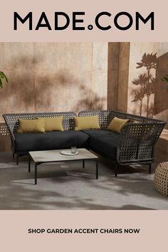 Balawa Garden Corner Sofa Set, Grey Modern Conservatory Furniture, Angles, Magazin Design, Corner Sofa Set, Yellow Cushions, Backyard Seating, Style Lounge, Best Sofa, 3 Seater Sofa
