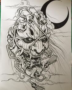 Unreal Hannya Mask Tattoo Outline Japanese Demon Tattoo Designs Hannya Mask Tattoo Outline Best Picture For tattoo designs neck For Your Taste You are looking for something, and it is Read Oni Tattoo, Hanya Tattoo, Irezumi Tattoos, Samurai Maske Tattoo, Hannya Maske Tattoo, Japanese Demon Tattoo, Japanese Sleeve Tattoos, Japan Tattoo, Tattoo Sketches