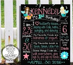 1st First Birthday Little Mermaid Chalkboard by MuchTooGraphic
