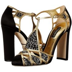 Dolce & Gabbana Embellished Caged Toe Sandal (Black/Gold) Women's... ($963) ❤ liked on Polyvore featuring shoes, sandals, gold, gold block heel sandals, black studded sandals, black sandals, block-heel sandals and black slip on sandals