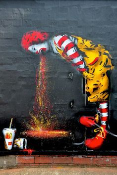 Ronald McDonald  throwing up art