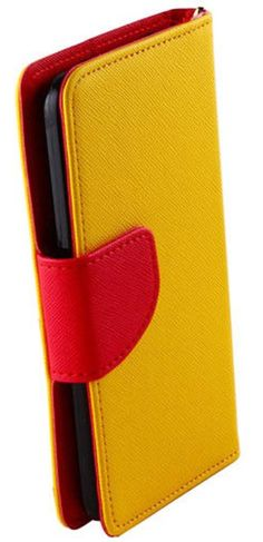 myLife Jonquil Yellow + Crimson Red {Simple Design} Faux Leather (Multipurpose - Card, Cash and ID Holder + Magnetic Closing) Folio Slimfold...