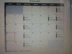 horario de clases de todas las categorias..master y doctorado de hipnosis clinica en el mes de enero 2014