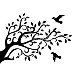 Logo  Tree silhouette with bird vector.  to stencil paint on a bunch of branches tied together and sanded for a surface