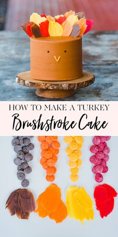How to Make a Turkey Brushstroke Cake thanksgiving dessert recipe unique cake recipes cake decorating tips how to decorate a thanksgiving themed cake thanksgiving ca. Dessert Kabobs, Dessert Party, Weight Watchers Desserts, Best Cake Recipes, Dessert Recipes, Brushstroke Cake, Turkey Cake, Jenny Cookies, How To Make Turkey