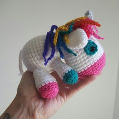 Custom order unicorn plush for a mix of colors and a rainbow mane...super amazing choice!!!!
