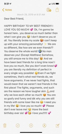 Best Friend Texts, Happy Birthday Best Friend Quotes, Message For Best Friend, Happy Birthday Text, Birthday Wishes For Sister, Birthday Wishes Funny, Dear Best Friend Letters, Best Friend Birthday Message, Dear Friend